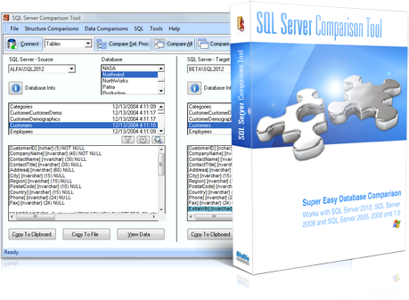 SQL Server Comparison Tool - main window