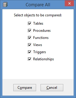 SQL Server Comparison Tool - compare all objects window