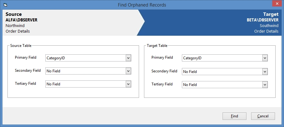 SQL Server Comparison Tool - find orphaned records dialog